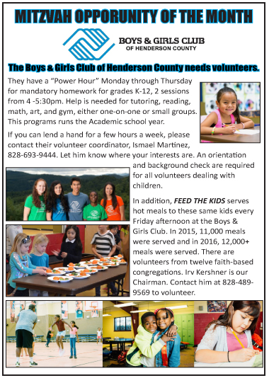 Mitzvah Opportunity April 2017