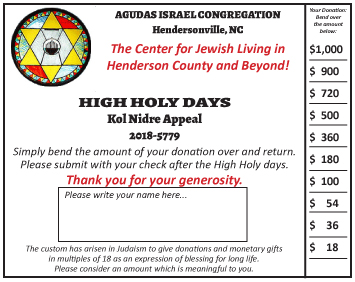 Click on Image for a message and printable form, from our President, Bonnie Cooper, for the Kol Nidre Appeal